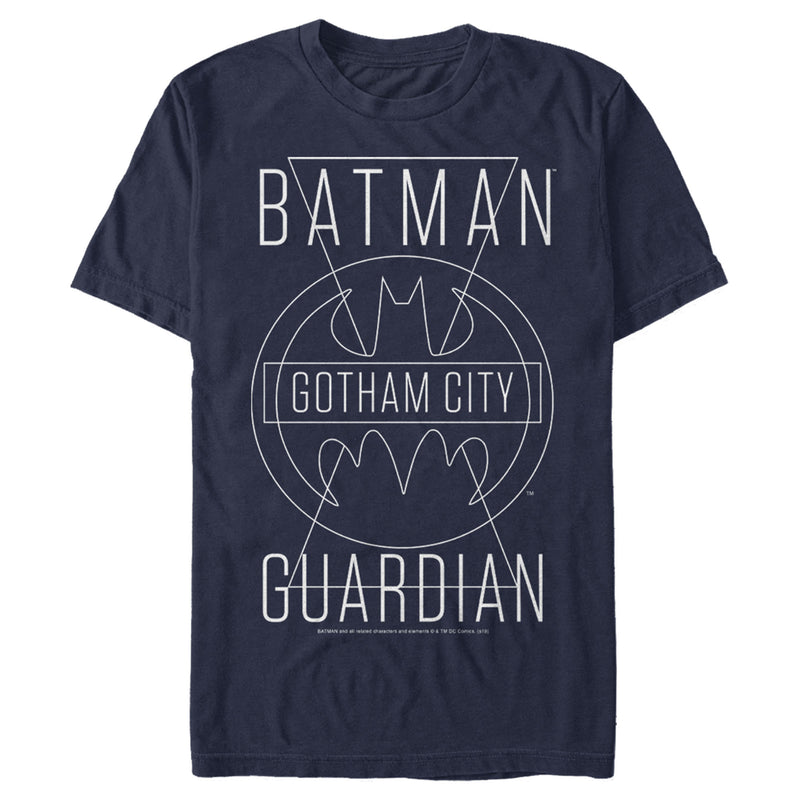 Batman Men's Gotham City Guardian  T-Shirt  Navy Blue  L