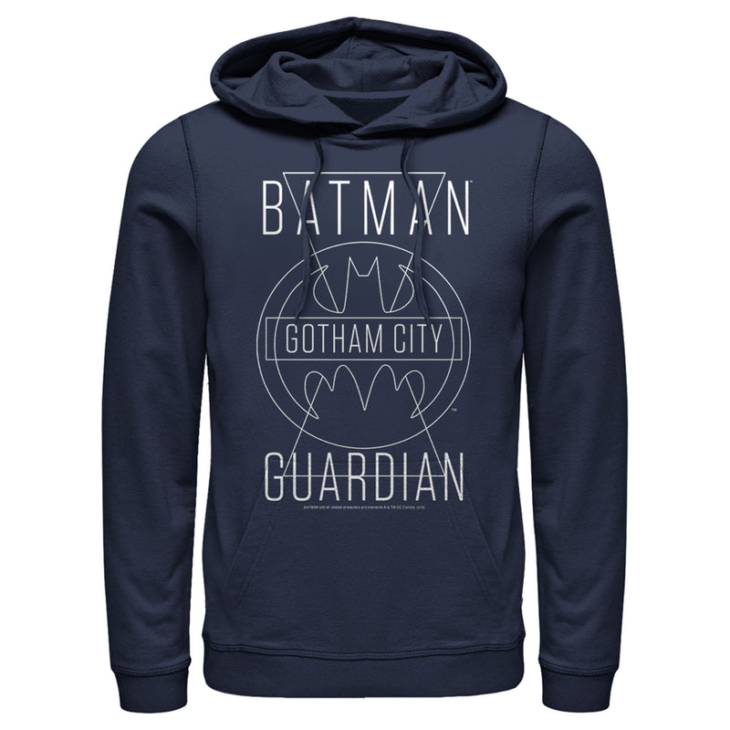 Batman Men's Gotham City Guardian  Pull Over Hoodie  Navy Blue  3XL