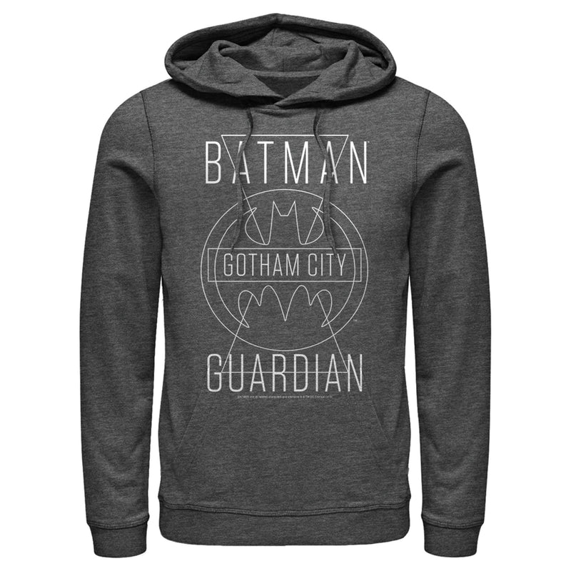 Batman Men's Gotham City Guardian  Pull Over Hoodie  Charcoal Heather  M