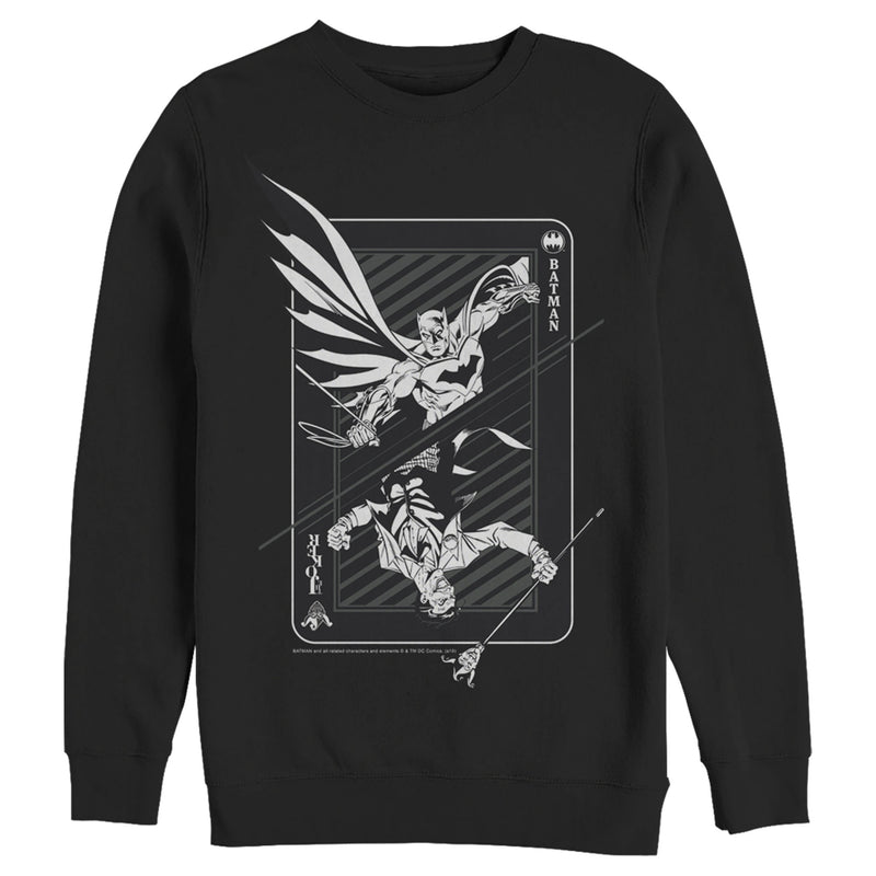Batman Hero vs Villain Playing Card Mens Graphic Sweatshirt