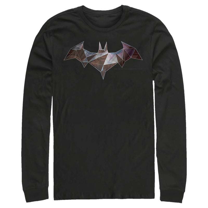 Batman Logo Geometric Wing Mens Graphic Long Sleeve Shirt