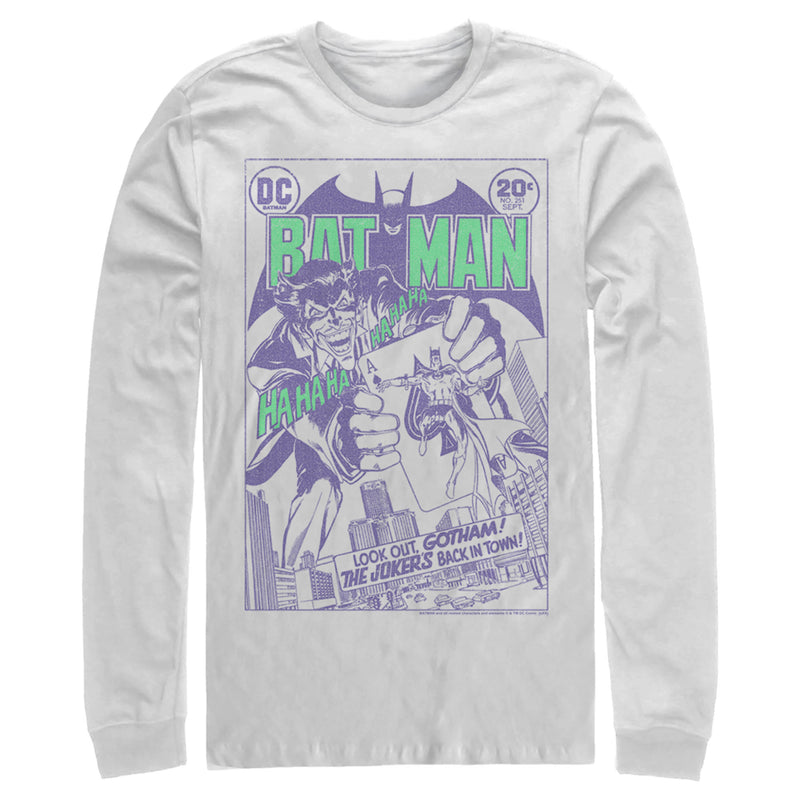 Batman Men's Joker Back in Town  Long Sleeve Shirt  White  S