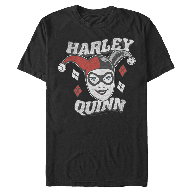 Batman Men's Harley Quinn Smile Face  T-Shirt  Black  M