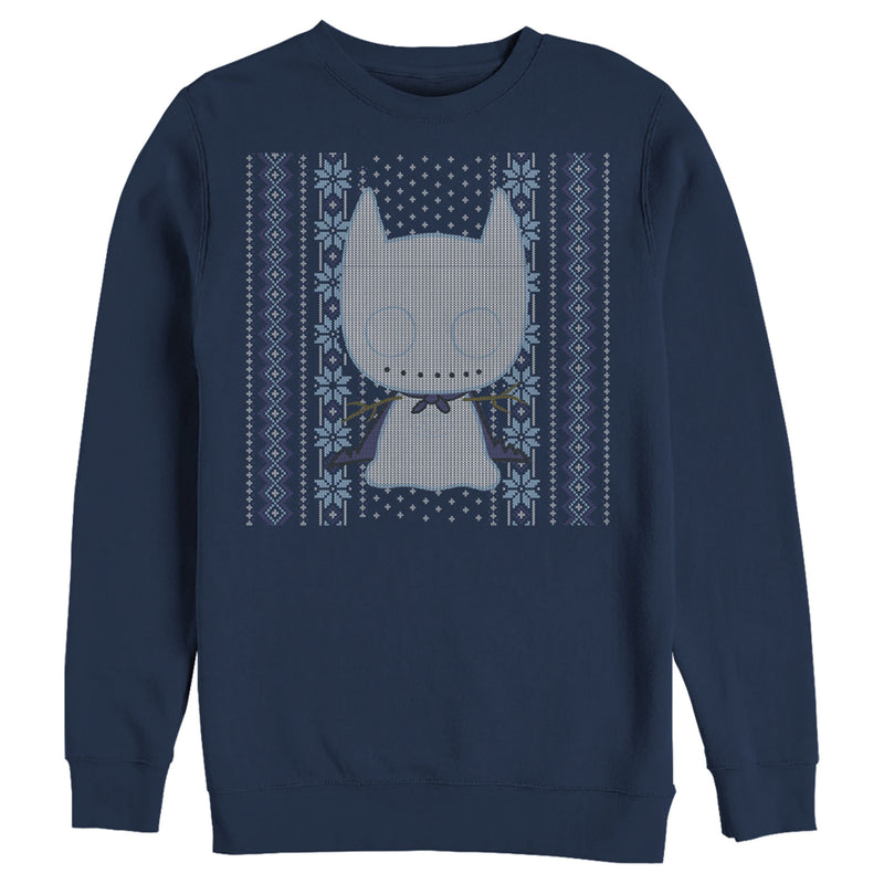 Batman Men's Ugly Christmas Chibi Snow Bat  Sweatshirt  Navy Blue  3XL