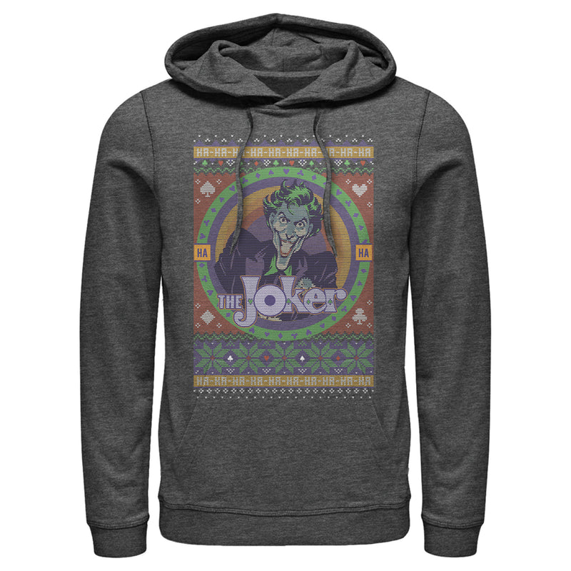 Batman Men's Ugly Christmas Joker  Pull Over Hoodie  Charcoal Heather  L