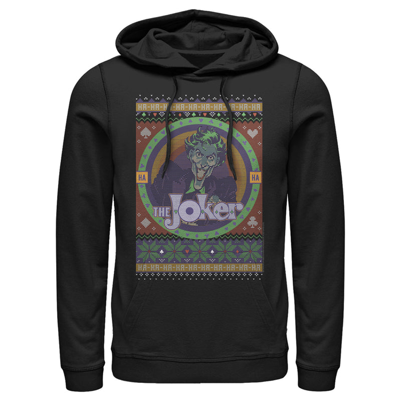 Batman Men's Ugly Christmas Joker  Pull Over Hoodie  Black  M