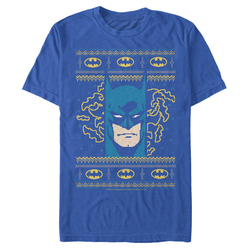 Batman Men's Ugly Christmas Masked Hero  T-Shirt  Royal Blue  XL