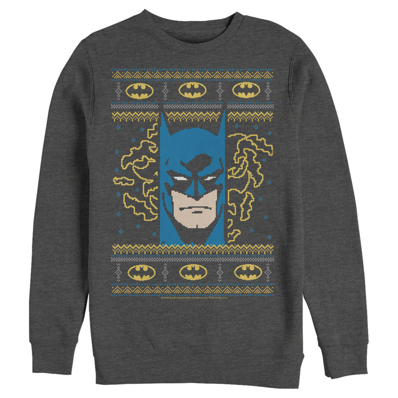 Batman Ugly Christmas Masked Hero Mens Graphic Sweatshirt