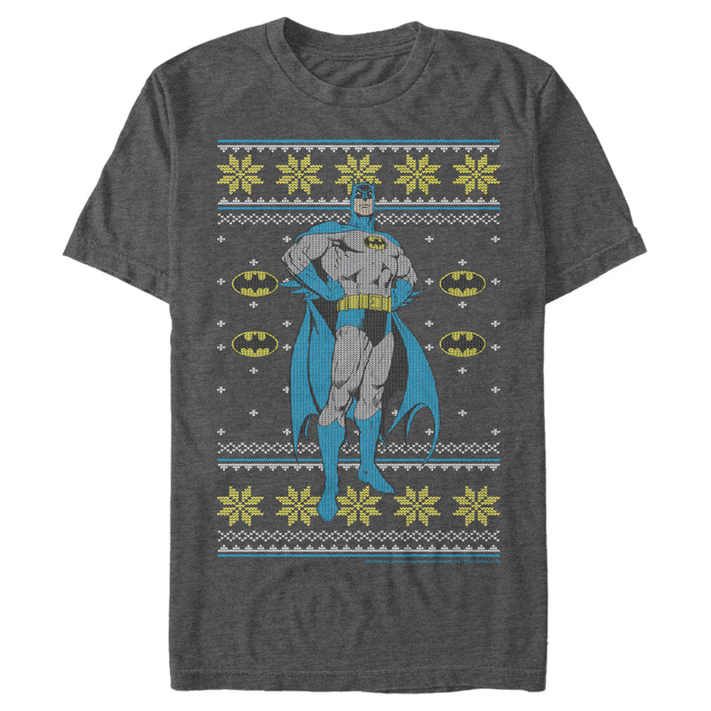 Batman Men's Ugly Christmas Dark Knight Pose  T-Shirt  Charcoal Heather  M