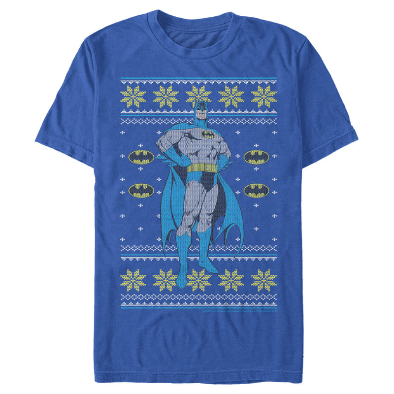Batman Men's Ugly Christmas Dark Knight Pose  T-Shirt  Royal Blue  M