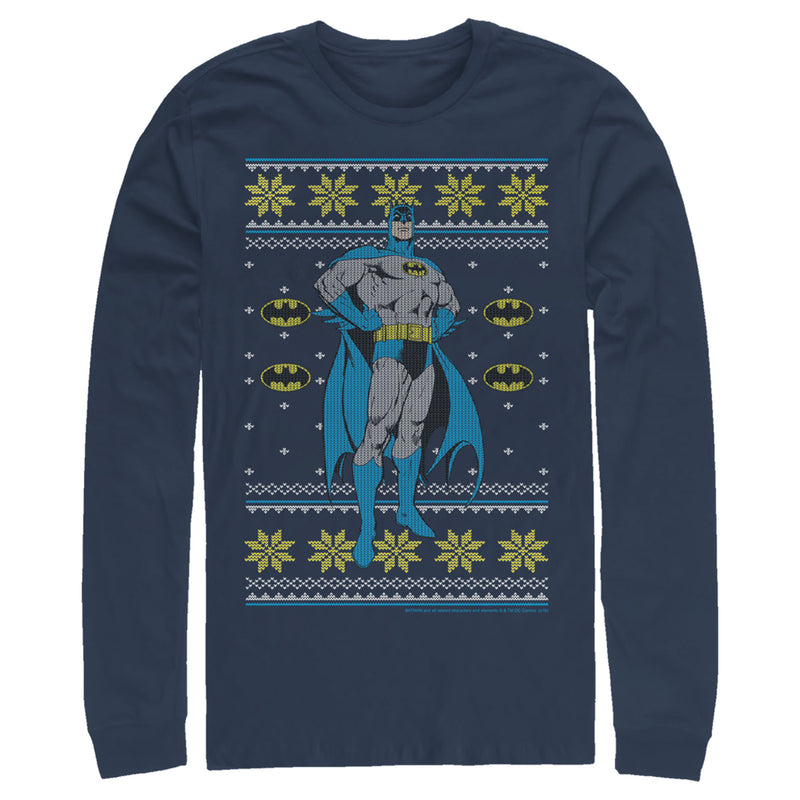 Batman Ugly Christmas Dark Knight Pose Mens Graphic Long Sleeve Shirt