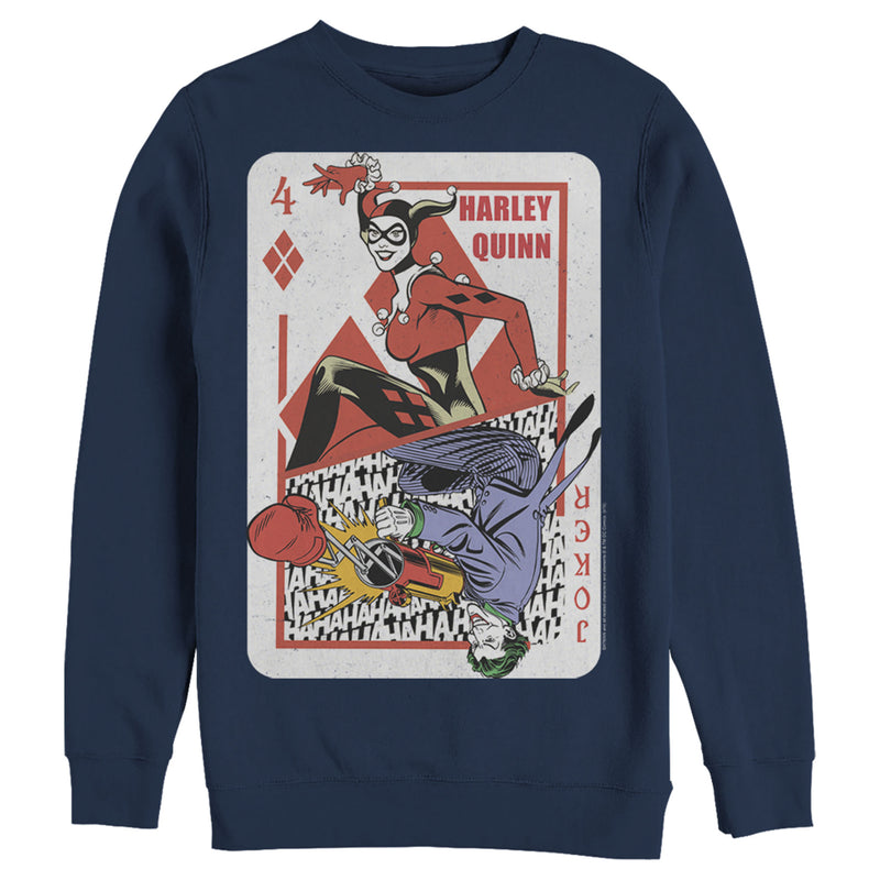 Batman Men's Harley Quinn Joker Poker Card  Sweatshirt