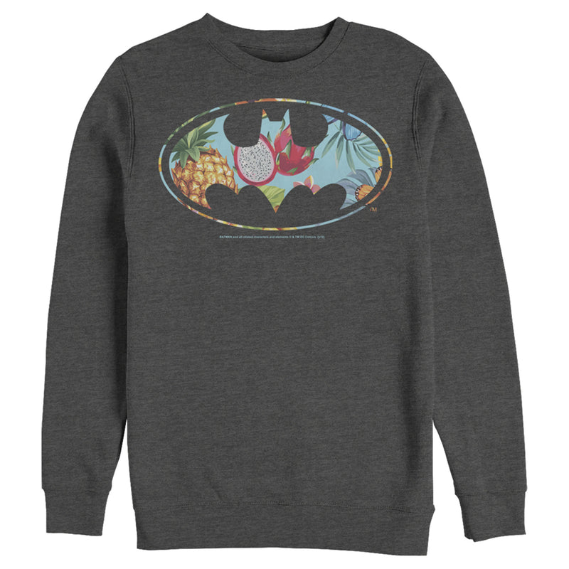 Batman Men's Tropical Logo  Sweatshirt  Charcoal Heather  2XL