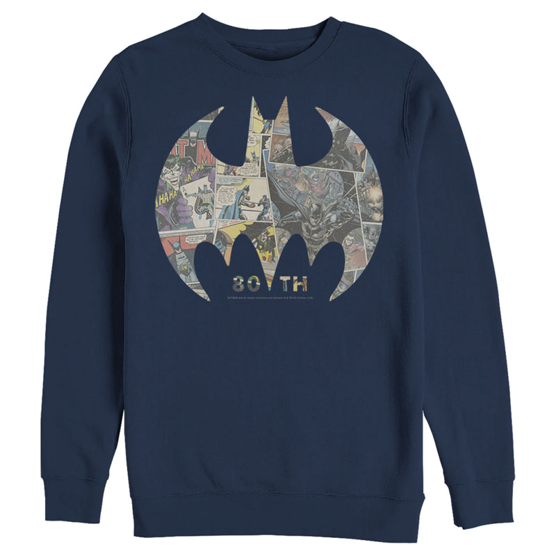 Batman Shield Logo Comic 80th Anniversary Mens Graphic Sweatshirt