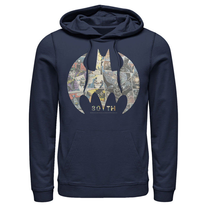 Batman Men's Shield Logo Comic 80th Anniversary  Pull Over Hoodie