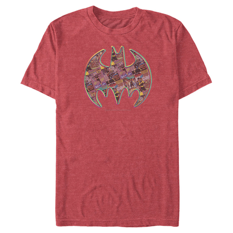 Batman Men's Shield Logo Comic Panel  T-Shirt  Red Heather  M