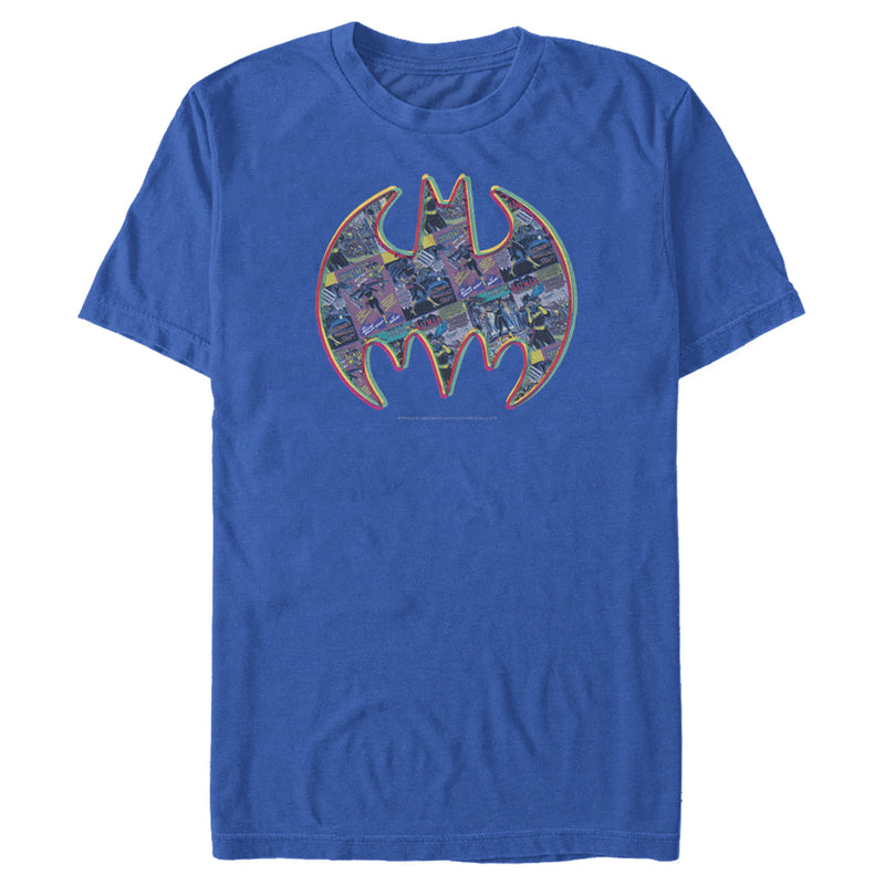 Batman Men's Shield Logo Comic Panel  T-Shirt  Royal Blue  M