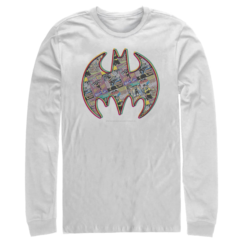 Batman Men's Shield Logo Comic Panel  Long Sleeve Shirt  White  M