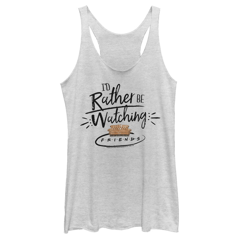 Friends Women's Rather Be Watching  Racerback Tank Top  White Heather  M