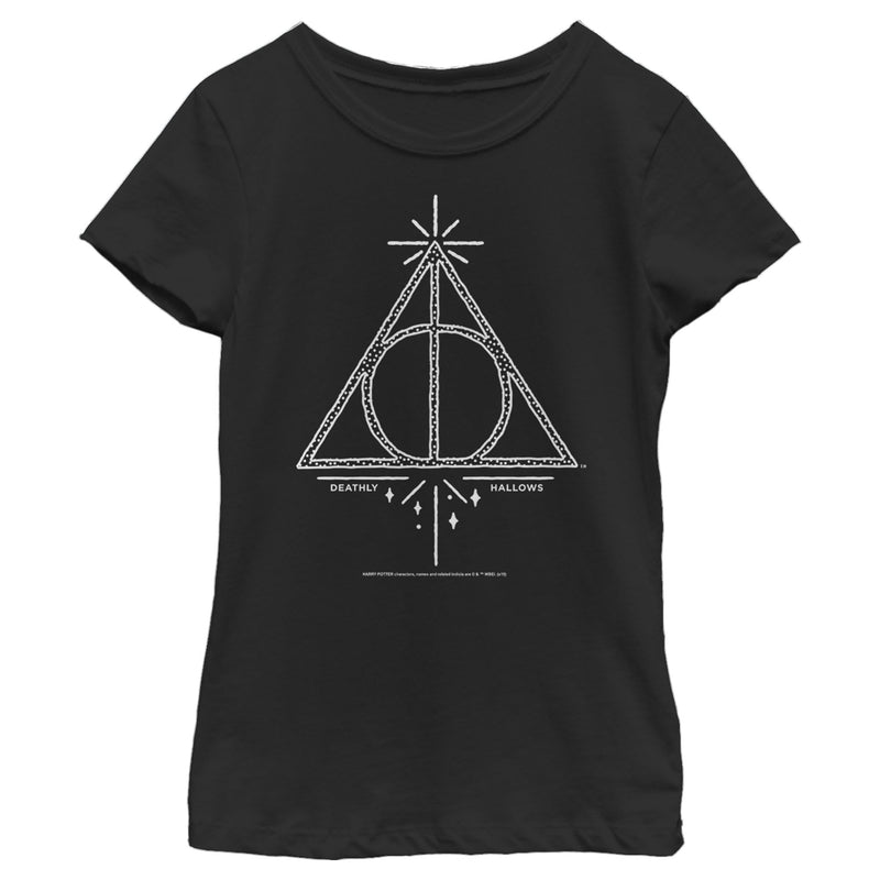 Harry Potter Girl's Deathly Hallows Symbol  T-Shirt  Black  XS