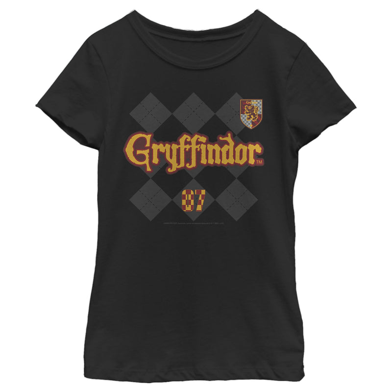 Harry Potter Gryffindor Argyle Print Girls Graphic T Shirt