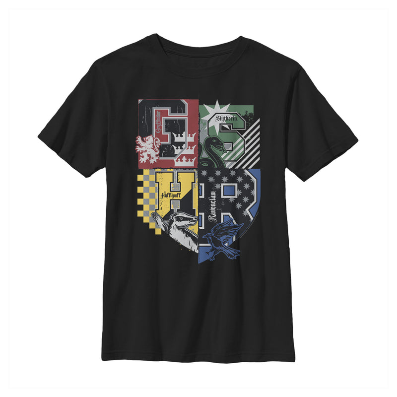 Harry Potter House Crests Shield Boys Graphic T Shirt