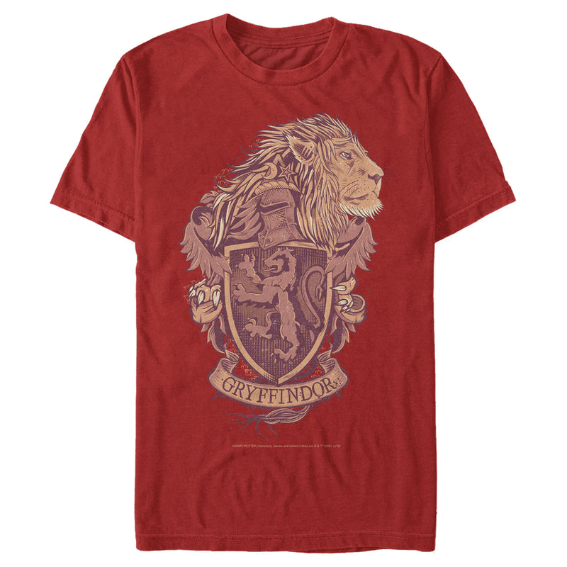 Harry Potter Gryffindor Coat of Arms Mens Graphic T Shirt