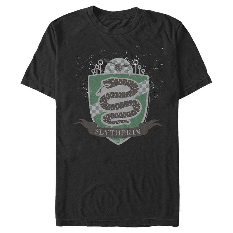 Harry Potter Men's Slytherin House Shield  T-Shirt  Black  M