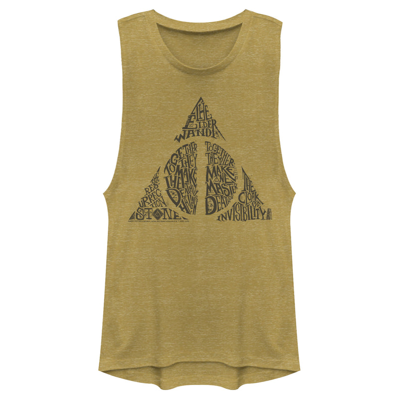 Harry Potter Junior's Deathly Hallows Secret  Festival Muscle Tee  Gold Heather  XL