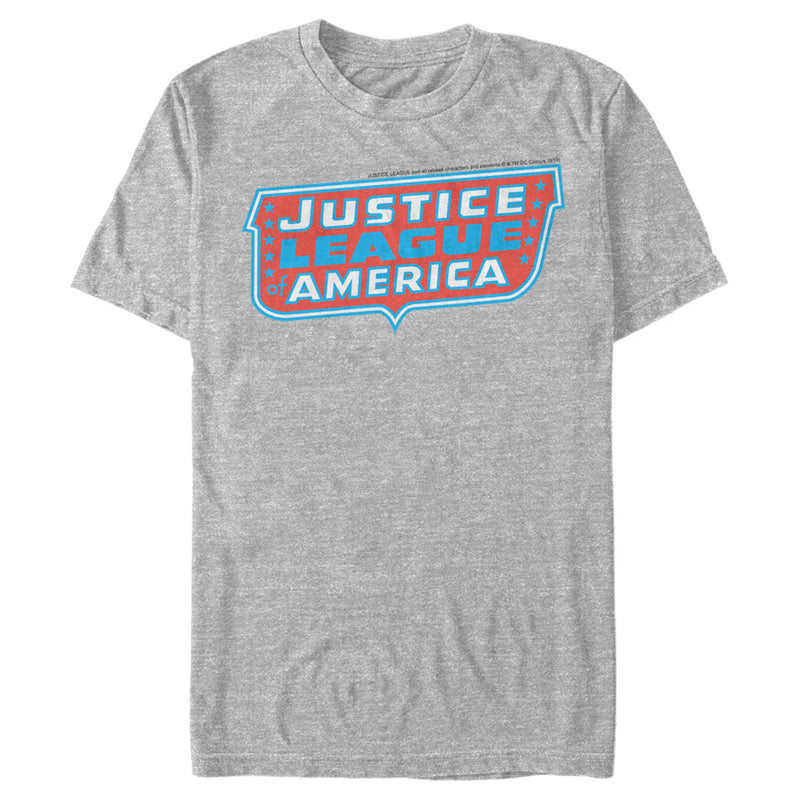 Justice League Patriotic Frame Logo Mens Graphic T Shirt