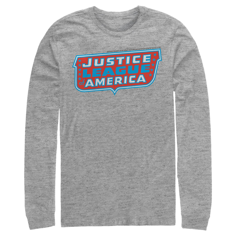 Justice League Patriotic Frame Logo Mens Graphic Long Sleeve Shirt