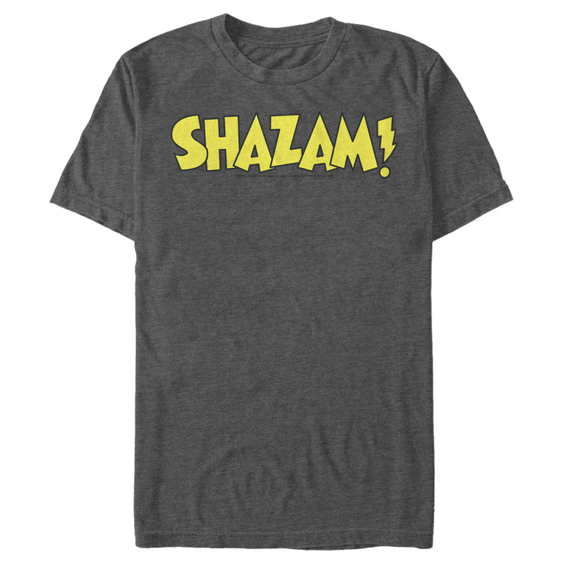 Justice League Men's Shazam Logo  T-Shirt  Charcoal Heather  M