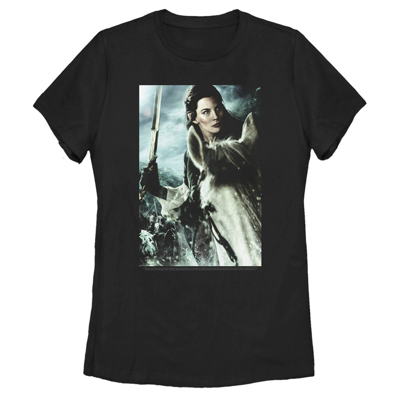 The Lord of the Rings Women's Fellowship of the Ring Arwen Poster  T-Shirt  Black  2XL
