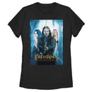 The Lord of the Rings Women's Two Towers Aragorn Arwen and Galadriel Logo  T-Shirt  Black  L
