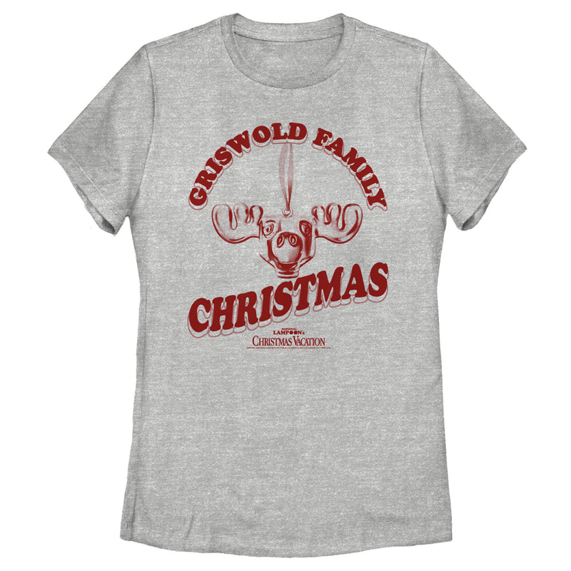 National Lampoon's Christmas Vacation Women's Griswold Family Moose  T-Shirt  Athletic Heather  2XL