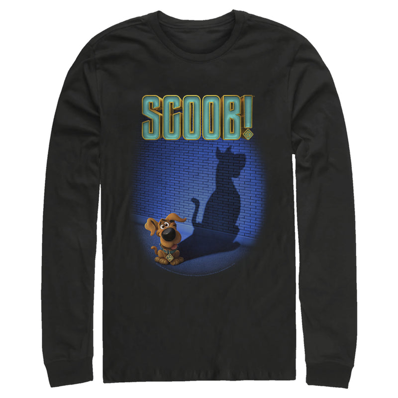 Scooby Doo Scoob! Dog Shadow Mens Graphic Long Sleeve Shirt