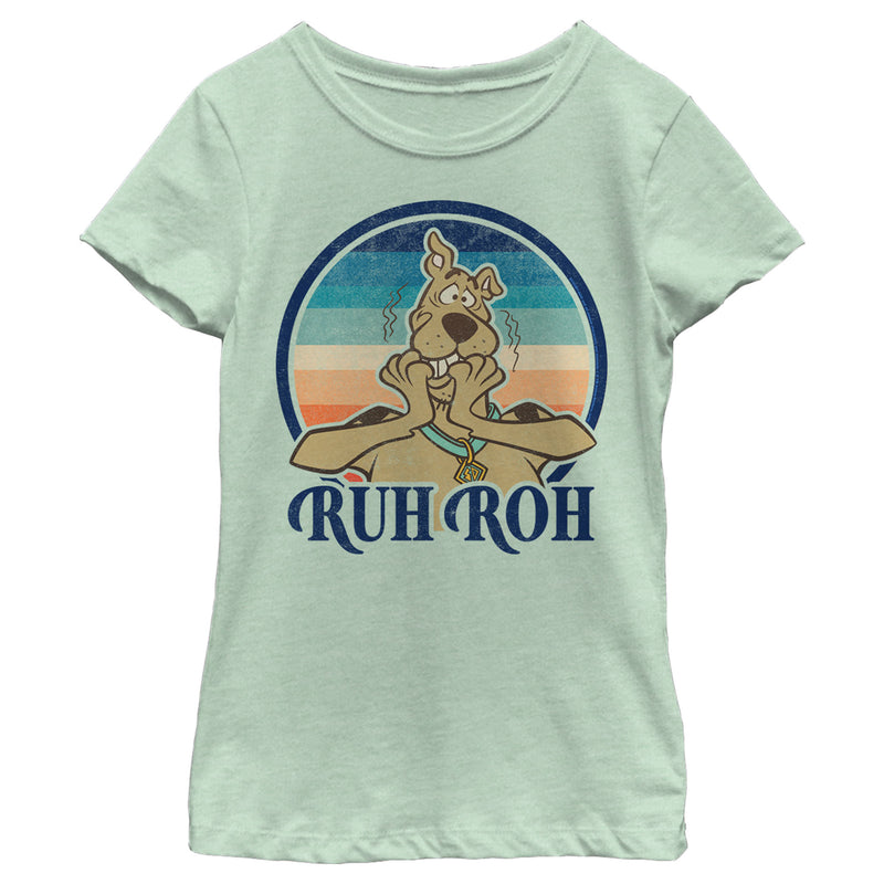 Scooby Doo Girl's Ruh Roh Retro Circle  T-Shirt  Mint  S