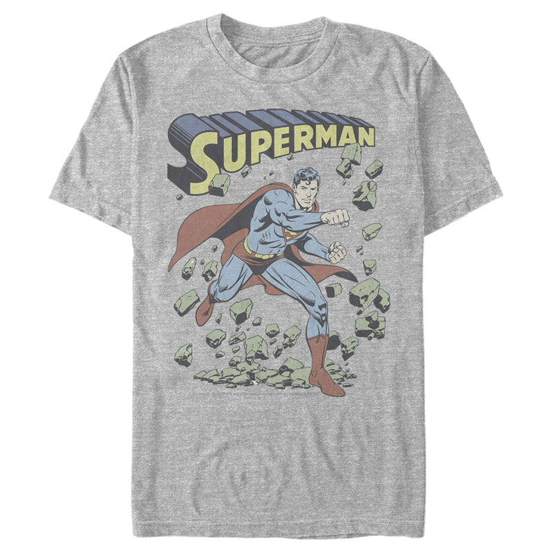 Superman Hero Smash Barriers Mens Graphic T Shirt