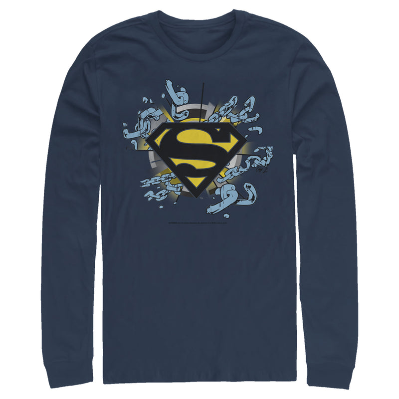 Superman Logo Broken Chain Mens Graphic Long Sleeve Shirt