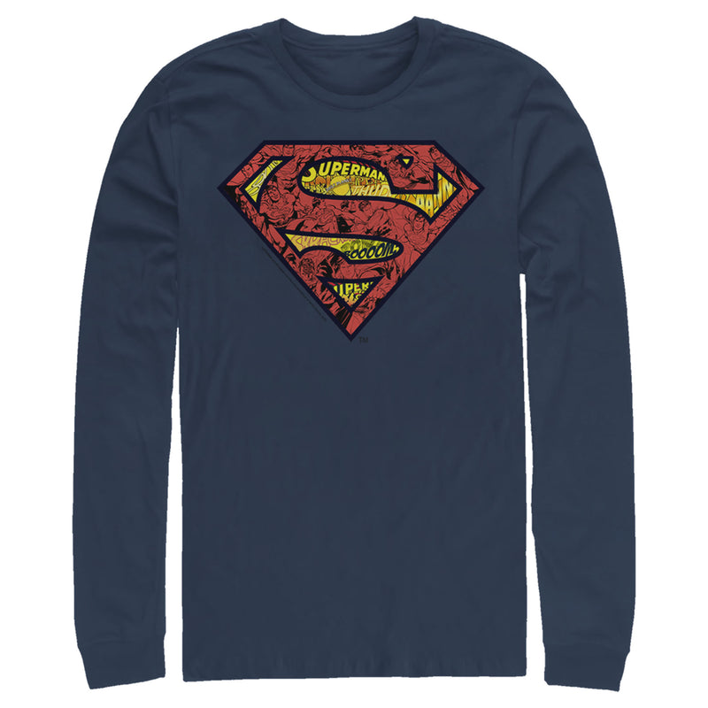Superman Men's Logo Collage  Long Sleeve Shirt  Navy Blue  S