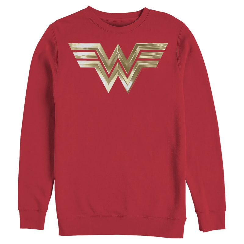Wonder Woman 1984 Men's Metallic Logo  Sweatshirt  Red  2XL