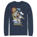 Wonder Woman 1984 Men's Fight for Justice  Long Sleeve Shirt  Navy Blue  2XL