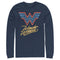 Wonder Woman 1984 Men's Neon Logo Glow  Long Sleeve Shirt  Navy Blue  2XL
