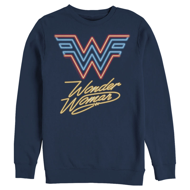 Wonder Woman 1984 Men's Neon Logo Glow  Sweatshirt  Navy Blue  3XL