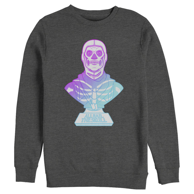 Fortnite Men's Skull Trooper All Hail Glow  Sweatshirt  Charcoal Heather  2XL