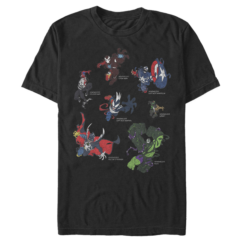 Marvel Men's Venomized Hero Circle  T-Shirt