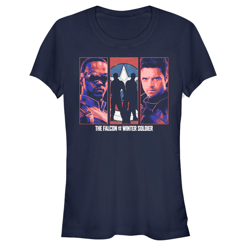 Marvel Junior's The Falcon and the Winter Soldier Group  T-Shirt  Navy Blue  2XL