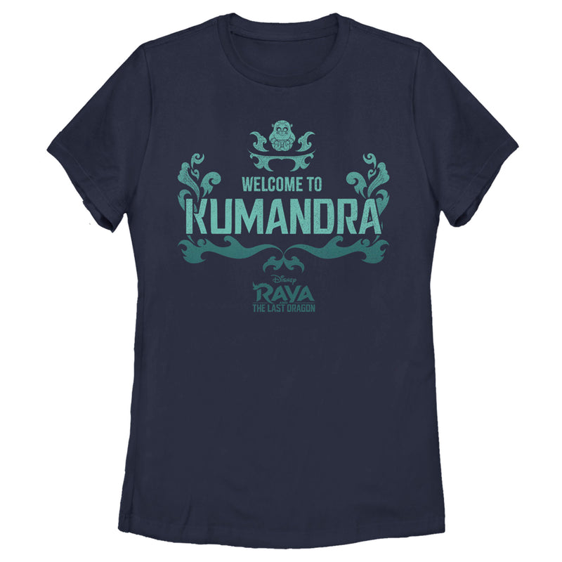 Raya and the Last Dragon Women's Welcome to Kumandra  T-Shirt  Navy Blue  L