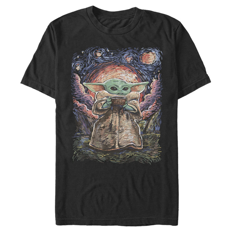 Star Wars The Mandalorian Men's The Child Starry Night  T-Shirt