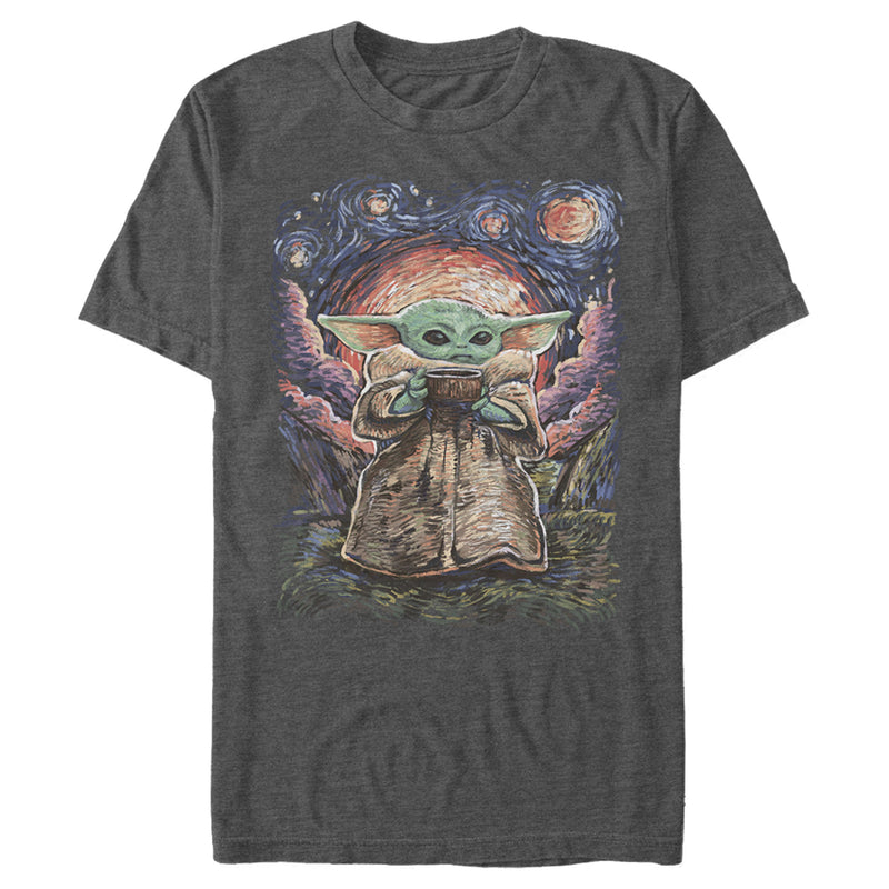 Star Wars The Mandalorian Men's The Child Starry Night  T-Shirt  Charcoal Heather  2XL